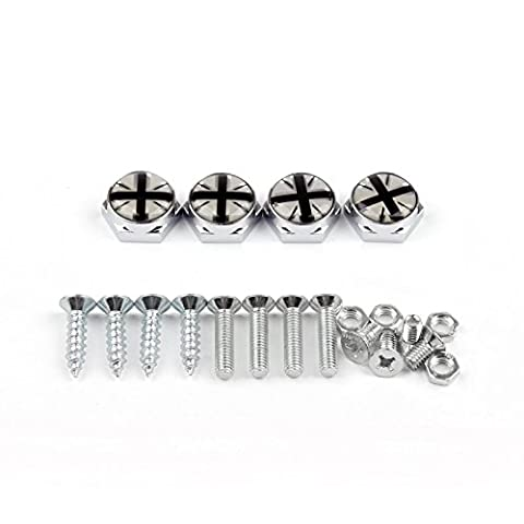 Areyourshop Union Jack Chrome Metal License Plate Frame Screw Bolt Cap for Mini Cooper