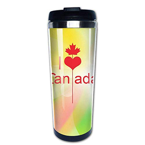 I Love Canada 400ml Stainless Steel Coffee Cup Tea Mug Travel Vacuum Insulated Mugs Hot Cold Tumbler Tall Iced Tea