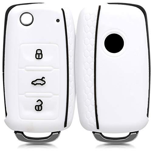 kwmobile Autoschlüssel Hülle für VW Skoda Seat - Silikon Schutzhülle Schlüsselhülle Cover für VW Skoda Seat 3-Tasten Autoschlüssel Weiß Schwarz