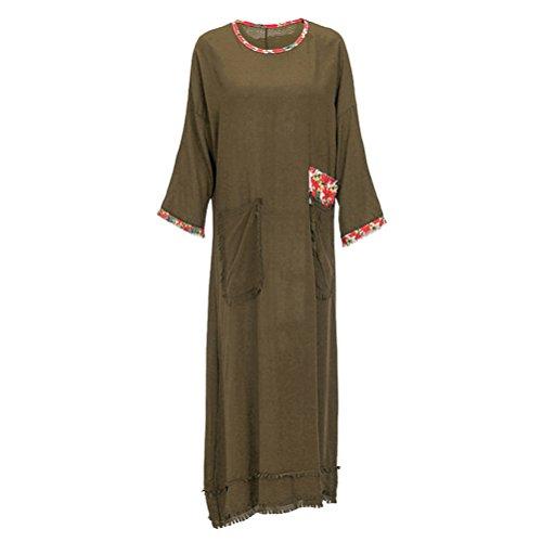 Femmes Rétro Style chinois Impression Patch Loose Plus Size Lin Cotton Long Dress Vert