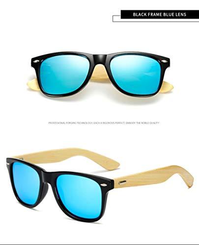 HUILIN polarisierte Holz Bambus Sonnenbrille Damen Markendesign Herren Echtholz Arm Sonnenbrille Mirrorr Lens, schwarz blau