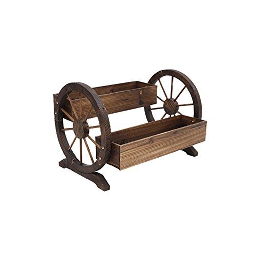 Yang baby ruote in legno massello, da esterno, da giardino, portavasi da giardino, portafiori in legno da balcone, fioriera, doppio, colore carbonizzato, 70 * 48 * 50cm.