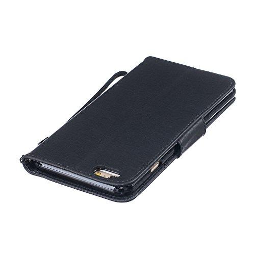 iPhone 6S Plus Lederhülle Brieftasche Handy Hülle Case,iPhone 6 Plus Komplett Schutz Kartenfach Schutzhülle Tasche Leder Flip Case,Herzzer Standfunktion Staubdicht Mit Sprüche Lanyard [Feder Muster] B Schwarz