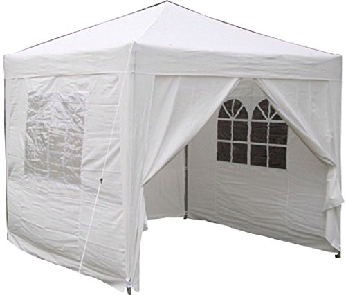 Airwave Pop-Up-Pavillon, 2,5 x 2,5 m, weiß, wasserfester GartenPavillon, 2 Windstangen und 4...
