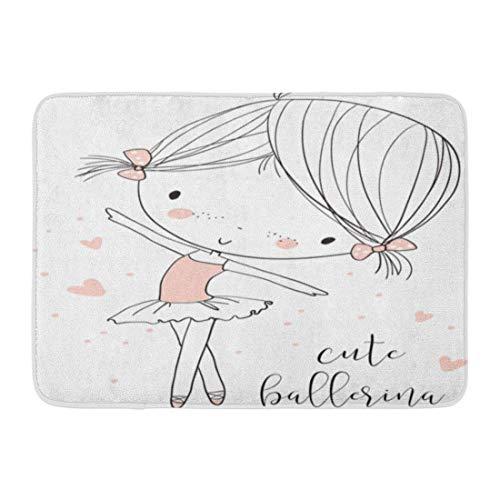 Rutschfeste Fußmatten Rosa Ballett Niedliche Ballerina Mädchen Tanz Baby Prinzessin Süße Vintage Langlebige Teppiche 40 x 60 cm
