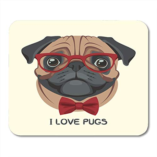 Gaming Mauspads, Gaming Mouse Pad Portrait of Pug Dog in Glasses and Bow Tie The 11.8
