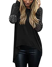 ISASSY Femme T-shirt Blouse Top à Manches Longues