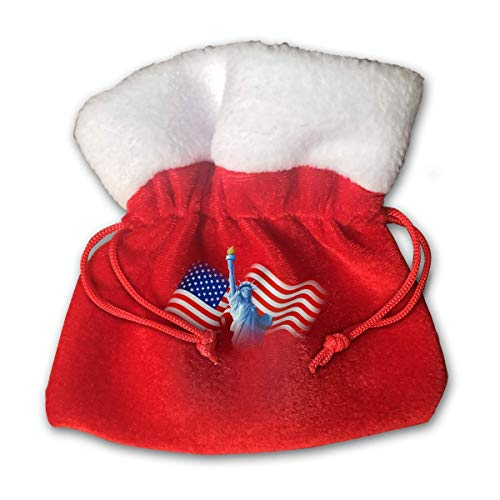 Jkimiiscute Personalized Santa Sack,The American Flag and The Goddess of Liberty Portable Christmas Drawstring Gift Bag (Red) -