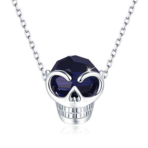 CRYSLOVE Collar de Cristales de Calavera para Mujer, Collar con...