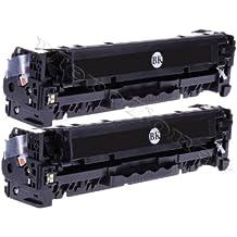 Merotoner® - 2 cartuchos de tóner para HP Color LaserJet (CE320A , CE 320A , 128A 128 A) HP CLJ CP1525, CP-1525N/NW , CM1415, CM-1415FN/FNW , CM1415, CM-1415MFP (2.200 páginas), color negro