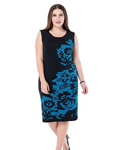 Chicwe Damen Kleid Große Größen aufgedruckte Blumen auf den Ärmeln 52, Türkis/Schwarz (Türkis Mutter Kleid Der Braut)
