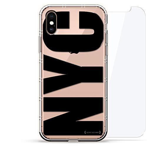 Luxendary Designer, 3D-Druck, Mode, Luftpolster-Kissen, 360 Glas-Schutz-Set für iPhone, NYC, in Schwarz, fett gedruckt, farblos