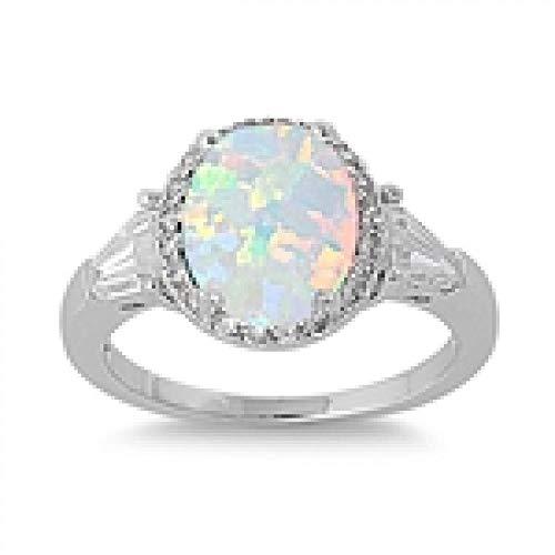 men-Ring / Verlobungsring - 925 Sterlingsilber - weiß Opal Zirkonia ()