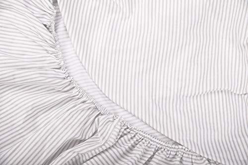 Vizaro - BEZUG für Wickeltischauflage des Babys/verstellbar - 100% REINE BAUMWOLE - 50x70 cm - Made in EU - ÖkoTex - SICHERES PRODUKT - K. Graue Linien