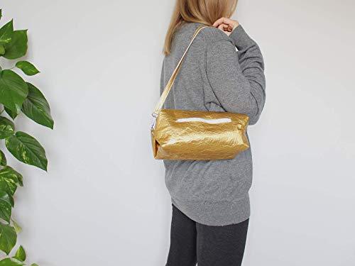 Goldene Tasche aus Piñatex® - vegane Ananasfaser - 3