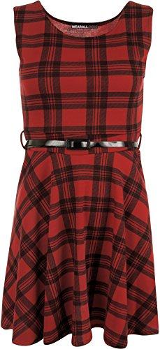 WearAll - Damen Schottenkaro ärmellos Gurt-Skater Ausgestelltes Kleid - 1 Farben - Größen 36-42 Rot