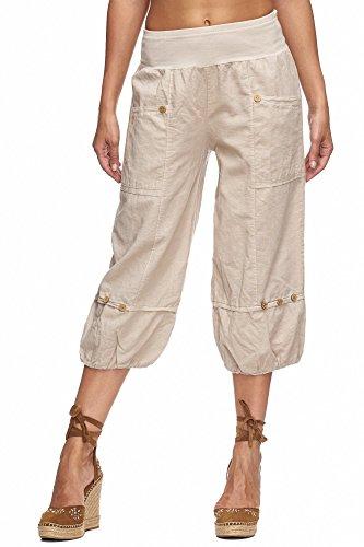 Beige Capri-hose (Zarlena Damen Capri-Hose knielange kurze Leinenhose Leinen Stoffhose Freizeithose Beige L LT3-BEG-L)