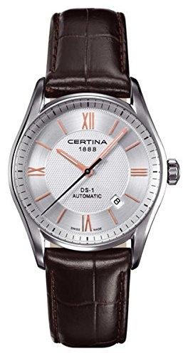 Certina - Reloj Analógico de Automático para Hombre, correa de Cuero color Marrón