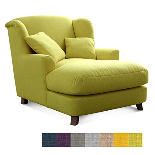 CAVADORE XXL-Sessel Assado/Großer Polstersessel in grün mit Holzfüßen, großer Sitzfläche,...