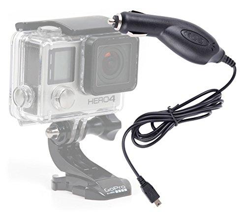 DURAGADGET Cargador Mechero Coche Para Cámara GoPro Hero 4 / 3+ / 3 / 2 / 1 (Black, Silver and White Edition) - Conexión MiniUSB ¡Perfecto Para Viajes!