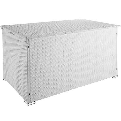 TecTake 800715 Aluminium Polyrattan Auflagenbox, wetterfeste und rostfreie Konstruktion, mit Gasdruckfedern, 950 Liter, 145 x 82,5 x 79,5 cm - Diverse Farben - (Weiß | Nr. 403277)
