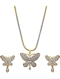 Zeneme Butter Fly American Diamond Gold Plated Pendant Set With Earring For Girls / Women