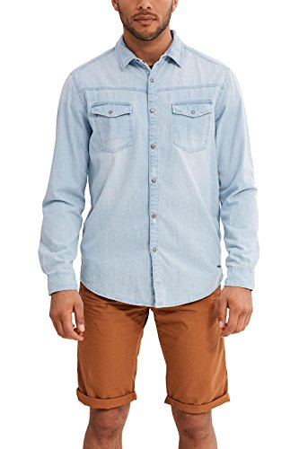 edc by ESPRIT Herren Freizeit Hemd 047CC2F003 Blau (Blue Light Wash 903), Large