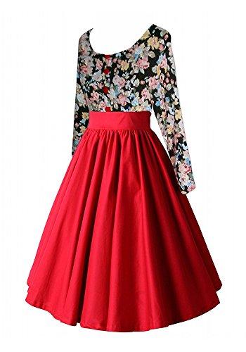MISSEUROUS Damen Elegant Lange ärmel Hepburn zusammenfügen Cocktail Vintage Swing Kleid B
