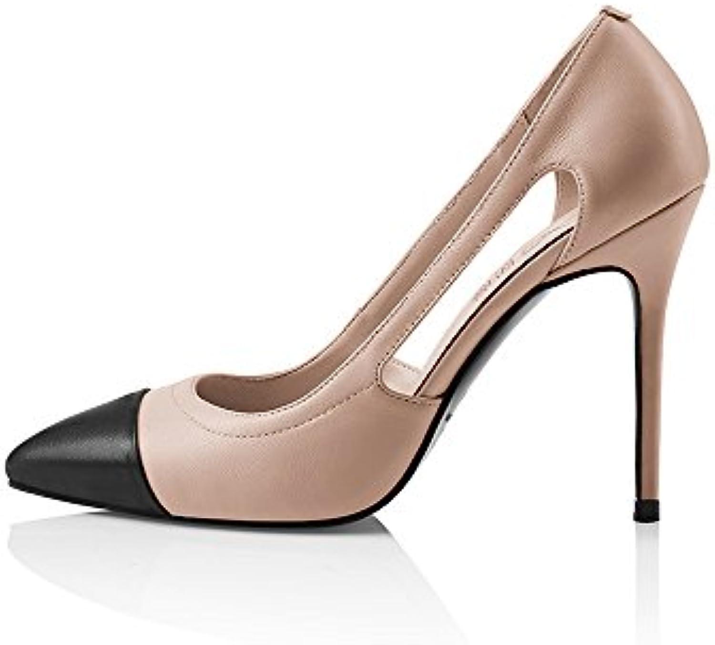 e11a6e3f5e2ec5 NAN Femmes Chaussures PU Summer Side Vide Talons Hauts Hauts Hauts  Dignified Élégance Peu Profonde Bouche Pointe Talons Stiletto.