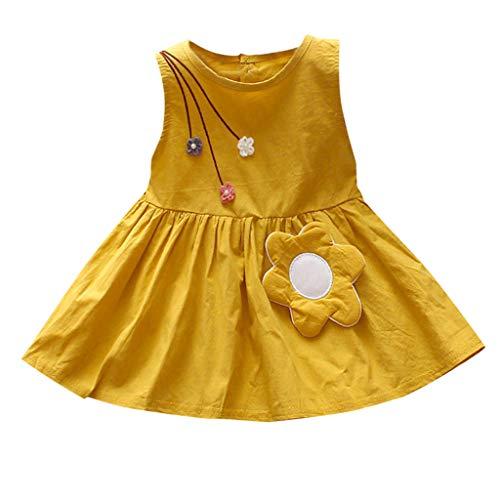 leinkind-Kind-Baby-Mädchen-Sleeveless beiläufige Blumen-Prinzessin Dress Sundress Clothes (Gelb,90/L) ()