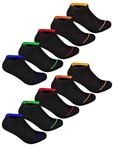 Sockenschuss 10 | 20 | 30 Paar Sneaker Socken Damen & Herren Schwarz & Weiß - Lange Haltbarkeit Dank Bester Qualität der Baumwolle (10x Black-Colored-Stripes-Mix, 39-42)