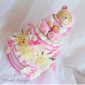 Windeltorte Spieluhr und Kuscheldecke Bärchen Mädchen Geschenk, Babyparty, Geburt oder Taufe, auf Wunsch mit Grußkärtchen