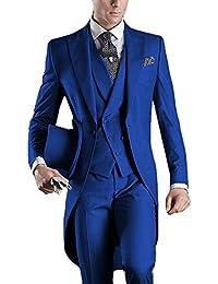 YYI Mens 3 Pieces Tailcoat Suit Set Business Tuxedo for Men Jacket, Vest, Suit