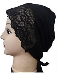 Cwen Collection Hijab LACE RHINESTONE TIE BACK Bonnet Women Cap Under Scarf Hat Stole Kitchen Pregnancy Hair Head Cover