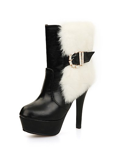 CU@EY Da donna-Stivaletti-Casual-Stivali-A stiletto-PU (Poliuretano)-Nero / Bianco white-us6.5-7 / eu37 / uk4.5-5 / cn37