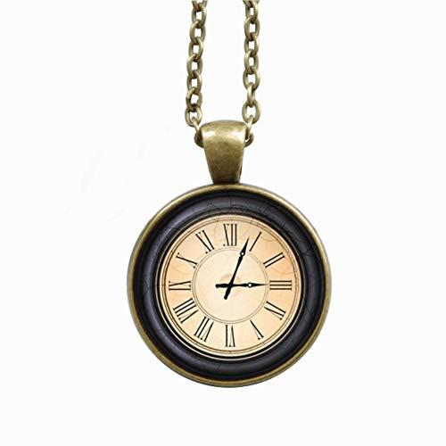 Kette - Motiv Antike Uhr - Uhrzeit individualisierbar - beige blau - Halskette - Gliederkette 75 cm- Kettenlänge optional auswählbar - bronzefarbend - Cabochon 25 mm Anhänger - Handgemacht