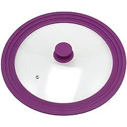 bremermann Couvercle en Verre Universel avec Bord en Silicone, 30/32/34 cm, Grande (Violet)