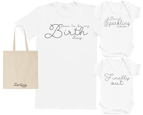Zarlivia Clothing Sparkling New - Sac de Cadeau de l'hôpital de maternité Sac avec Le T-Shirt de l'hôpital et 2X Nouveau Body de bébé - Blanc - Large & Naissance