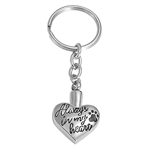 VALYRIA Stainless Steel Keychain - Dog Paw Print on Heart