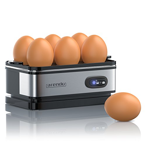 41AnzJtTy9L. SS500  - Arendo - Electric Egg Boiler - Automatic Cooker with Warming Function - 6 Egg Capacity - Indication Light - for Perfect Soft and Hard Eggs - Water Measuring Cup and Egg Piercer - Stainless Steel