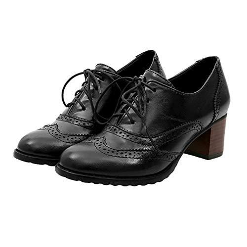 Juleya Damen Schnürhalb Schuhe Runder Kopf Einzelne Schuhe Hollow Schuhe mit Mittlerer Ferse Dicker Absatz Oxford Schuhe 3 Farben 35-43