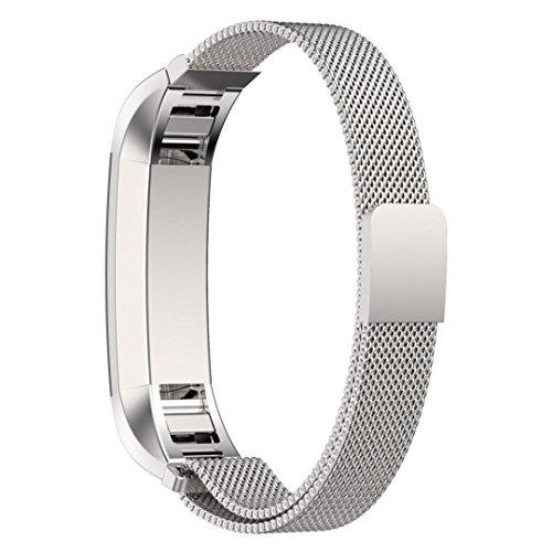 Bracelet pour Fitbit Alta, avec le Fermoir Magnétique Unique, Voberry® 12mm Strap Acier Inoxydable Band pour Fitbit Alta Aucune Boucle nécessaires - Argent