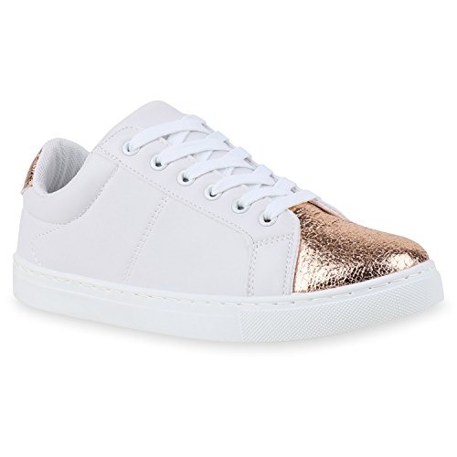 Damen Sneakers   Sneaker Low Metallic Cap   Sportschuhe Leder-Optik Glitzer   Freizeit Schnürer Prints Samt   Trainers Allyear Weiss Bronze Metallic
