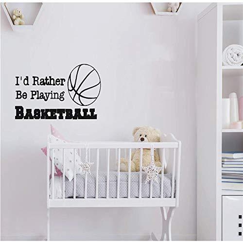Basketball Wandtattoo Zitat Ich würde eher Basketball spielen Sport Zitate Wandaufkleber Kinder Jungen Zimmer Wandkunst Wandbild 42 * 82 cm -