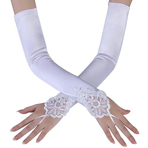 Stretch-spitzen Handgelenk Handschuhe (BABEYOND Damen Handschuhe Satin Classic Opera Fest Party Audrey Hepburn Handschuhe 1920er Stil Handschuhe Elastisch Erwachsene Größe Ellenbogen bis Handgelenk Länge 52/55cm (Spitze 45cm / Weiß))