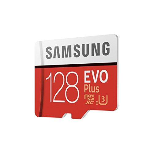 Samsung EVO Plus Tarjeta de memoria microSD de 128 GB con adaptador SD 100 MB/s U3 color rojo y blanco