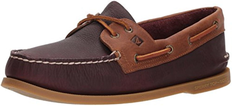 Sperry Top Sider Men's a/O 2 Eye Daytona Boat Shoe  Burgundy/Tan  10.5 Medium US
