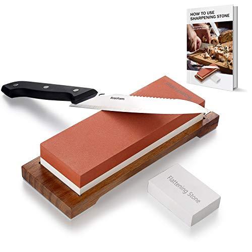basicform Wetzstein Messer schärfen Stein Kit–1000|6000Körnung Schleifstein mit rutschfesten Sockel aus Holz, mit Glätten Stein für Reparatur