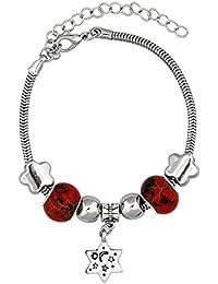 Bijou Vertex 2 X Silver Star Charm Pandora Bracelet With Black Rubber Cord Bracelet With Alloy Charms