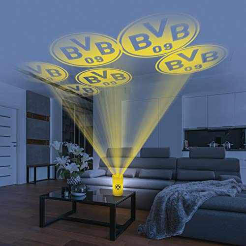 Borussia Dortmund Motiv Projektor Haus | BVB Logo LED-Echtwachskerze | Motivstrahler Fanartikel Licht Deko inkl. Fernbedienung (Gelb)